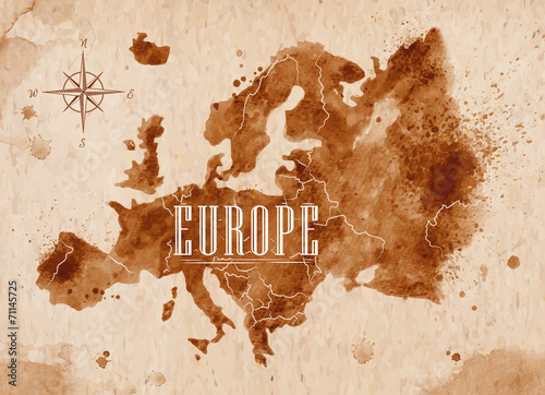 Map Europe retro Canvas Print
