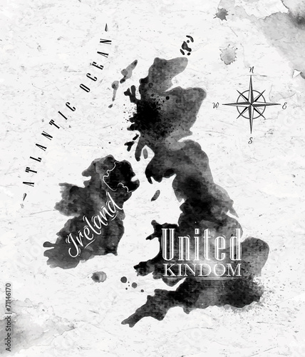 Ink United kingdom and Scotland map Wallpaper Mural