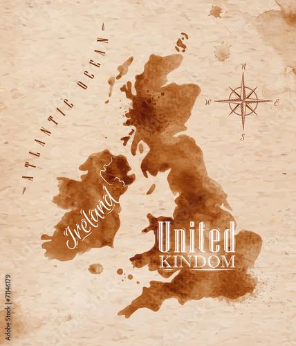 Fotografía  Map United kingdom and Scotland retro