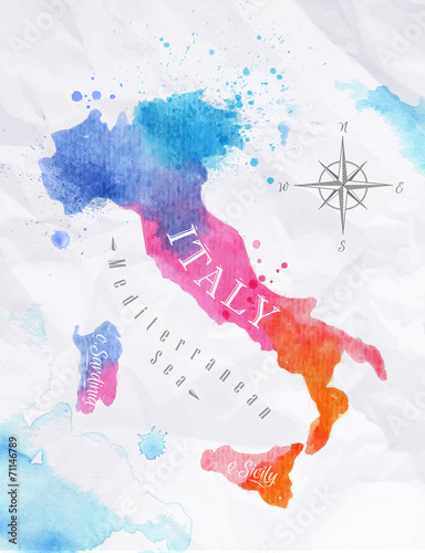 Watercolor map Italy pink blue Wallpaper Mural