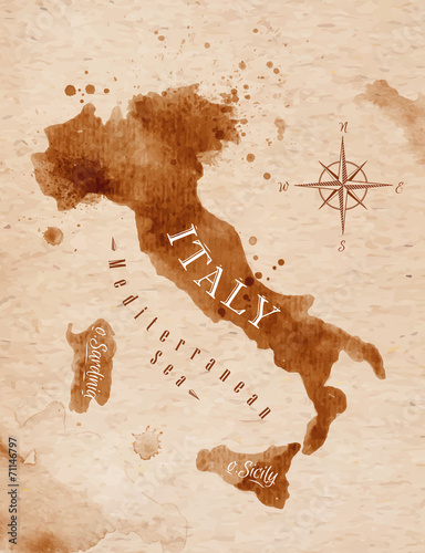 Map Italy retro Fototapet
