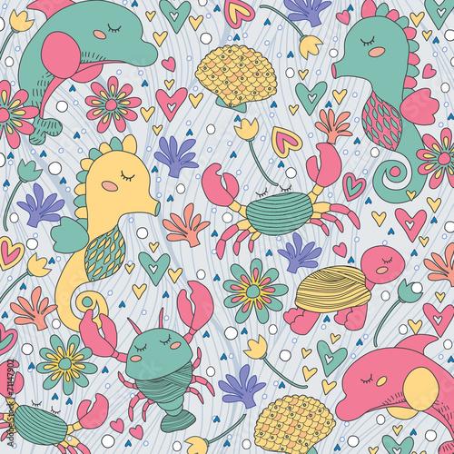 Fotografie, Obraz  sea creatures whimsical illustration