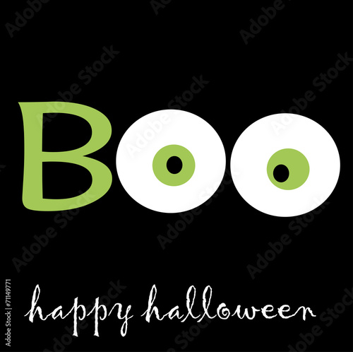 Fotografia, Obraz  Boo for Halloween with two eyes in green