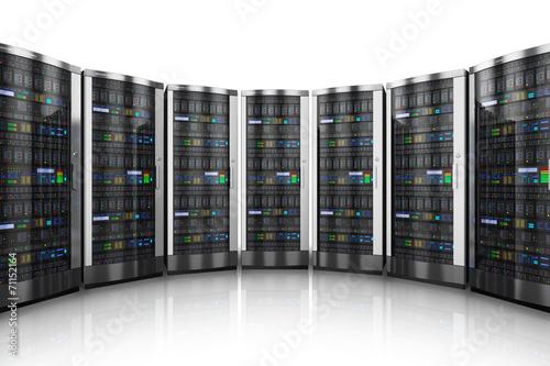 Deurstickers Surrealisme Row of network servers in data center