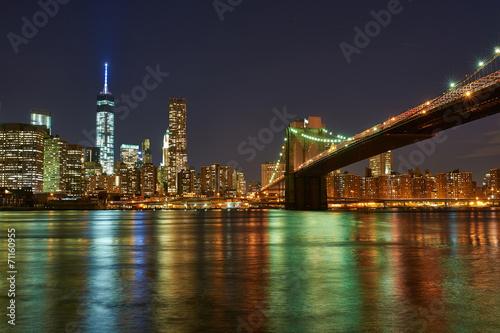 Fototapety, obrazy: Brooklyn Bridge with lower Manhattan skyline at night