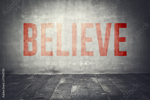 Fotografering Believe message on the wall