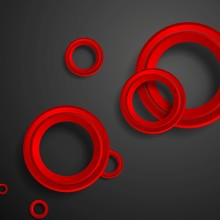 Red Circles On Black Background