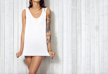 Woman Wearing Blank Sleeveless T-shirt