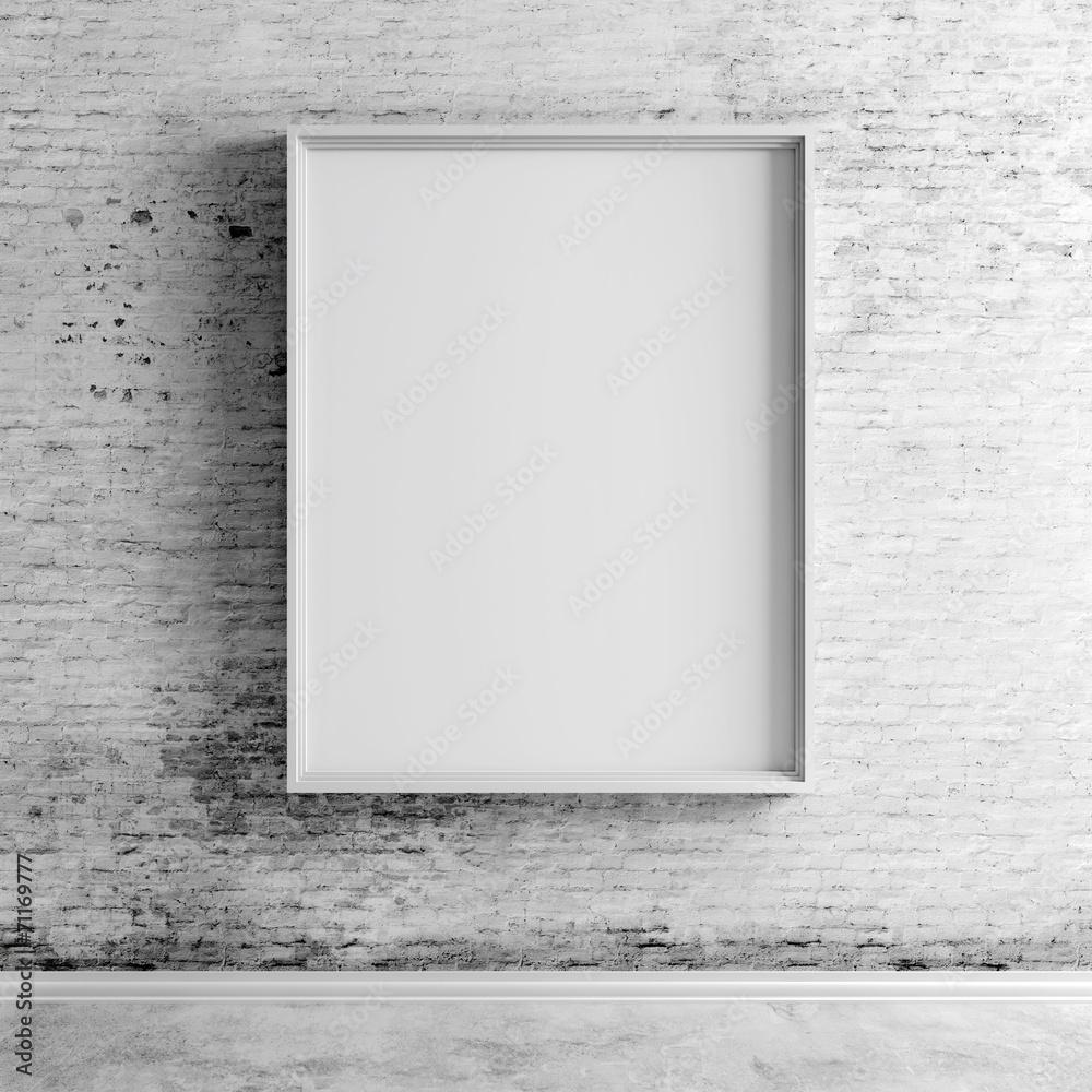 Fototapeta 3d blank boards on white vintage brick wall