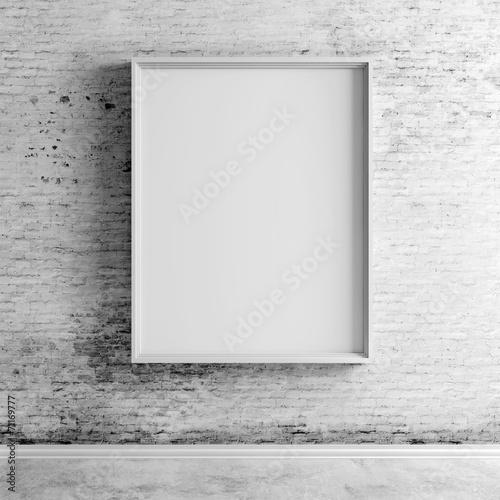 Obraz 3d blank boards on white vintage brick wall - fototapety do salonu