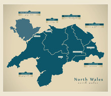 Modern Map - North Wales UK