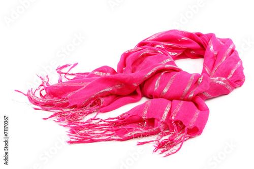 Fotografie, Obraz  Pink scarf with tassels, on white background.