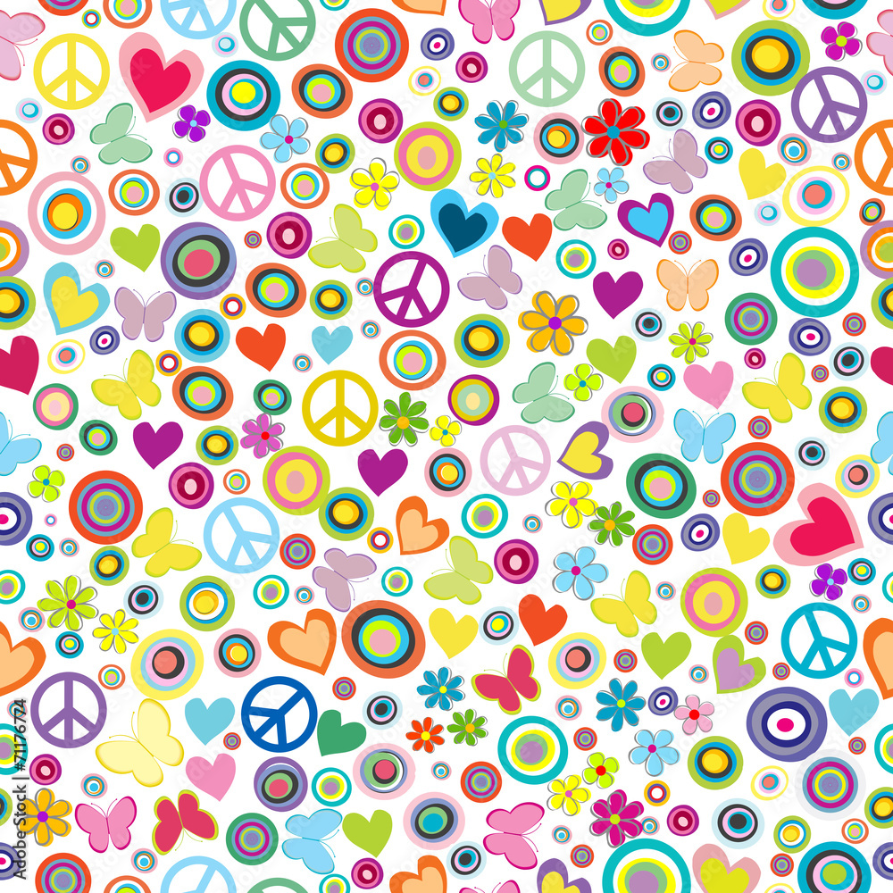 Flower power background seamless pattern with flowers, peace sig