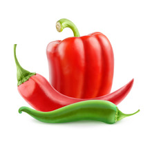 Isolated Pepper. Hot Peppers A...