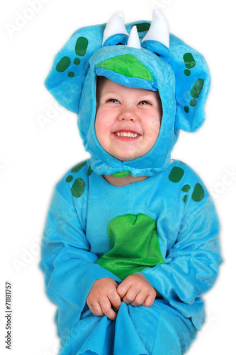 Toddler Girl in Dinosaur Costume