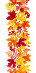Vertical seamless background with colorful autumn leaves.