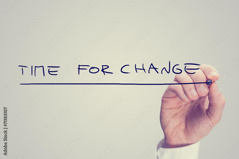 Fototapeta Hand Writing Time for Change Phrase