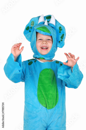 Toddler Girl in Dinosaur Costume, Standing