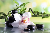 Fototapeta Kuchnia - Spa stones and white orchid on table on natural background