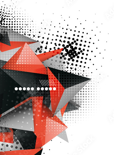 Naklejka dekoracyjna Geometric triangle 3d design, abstract background