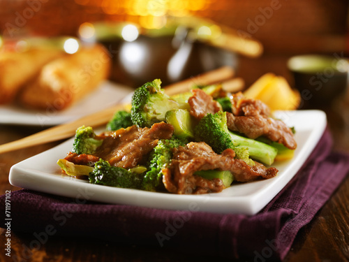 beef and broccoli chinese stirfry Canvas Print