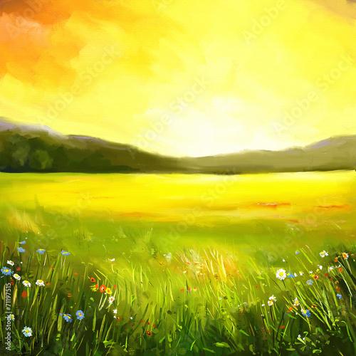 Poster Jaune Autumn sundown landscape painting