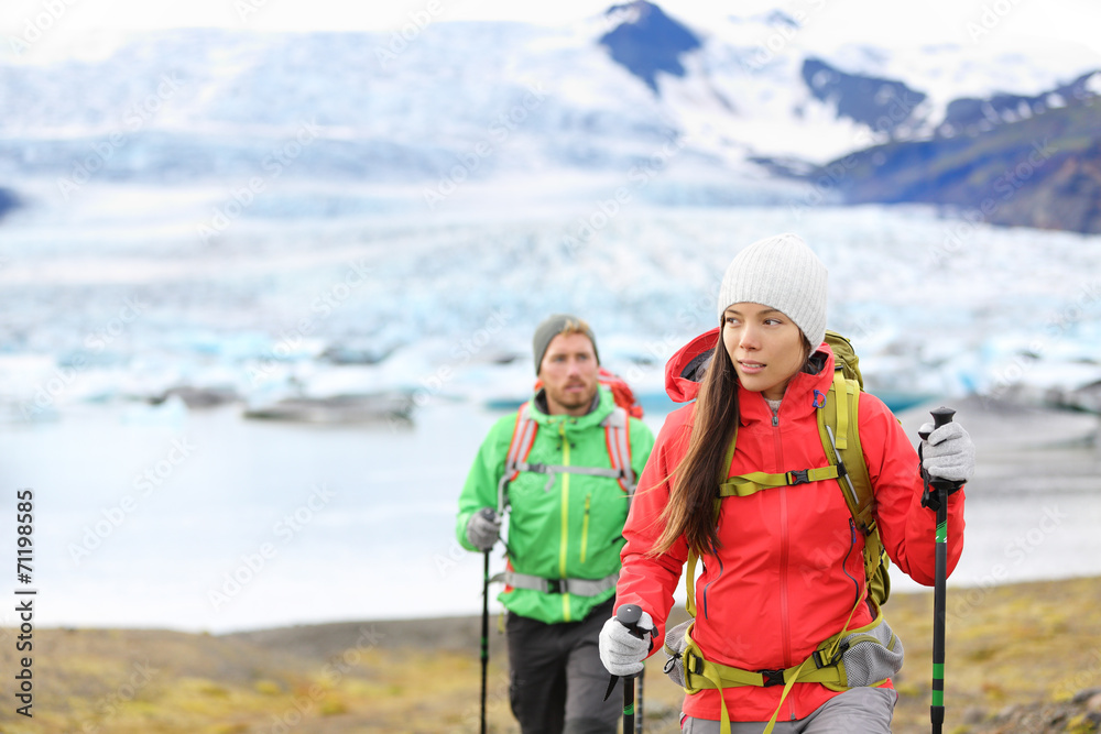 Fototapety, obrazy: Adventure hiking people by glacier on Iceland