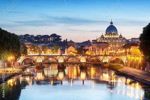 Poster Prague River Tiber, Ponte Sant Angelo and St. Peter's Basilica