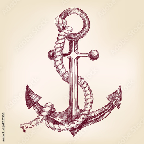 Valokuvatapetti anchor hand drawn vector llustration