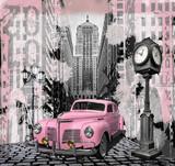 Fototapeta Młodzieżowe - Vintage pink auto
