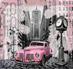 fototapeta Vintage różowe auto