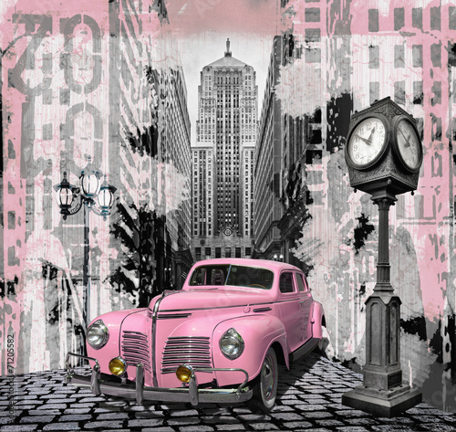 Poster Vintage cars Vintage pink auto