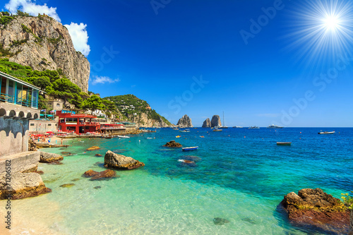Spoed Foto op Canvas Napels Beautiful beach in Capri island,Italy,Europe