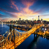 Fototapeta Nowy York - New York City - sunset over manhattan with Queensboro bridge
