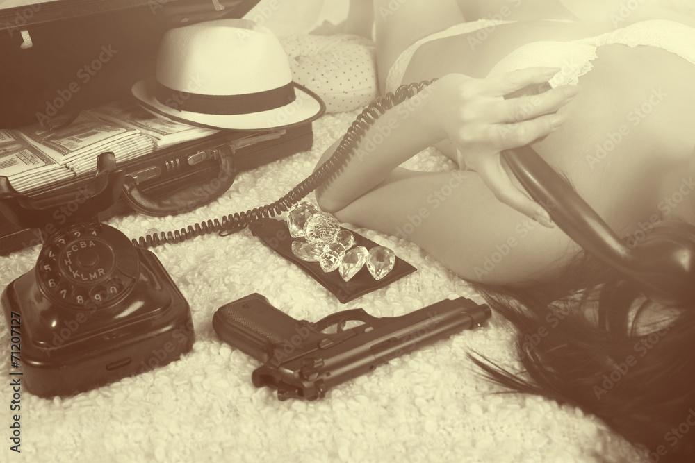 Fototapeta Retro time - bad girl calling by phone