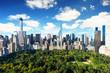 Leinwanddruck Bild New York City - central park view to manhattan at sunny day