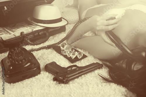 Fotografie, Obraz  Retro time - bad girl calling by phone