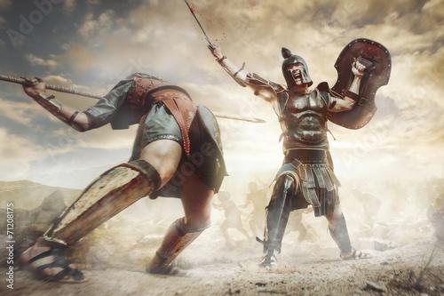 Foto  Antike griechische Krieger Achillesand Hector im Kampf kämpfen