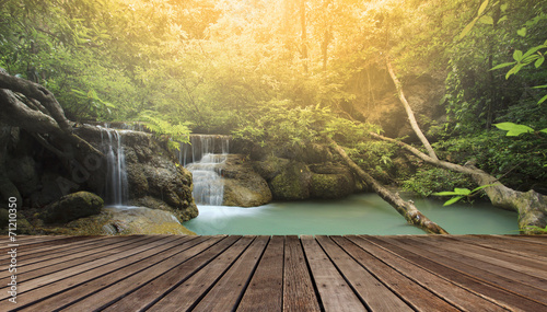 Foto op Canvas Watervallen wood terrace against beautiful limestone waterfalls