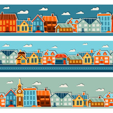 Town Seamless Patterns With Cu...