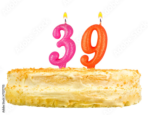 Poster birthday cake with candles number thirty nine isolated on white
