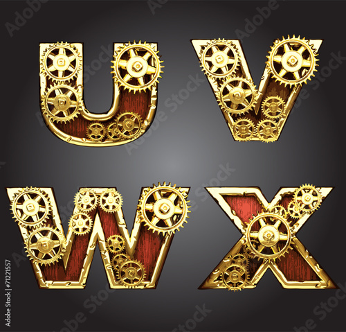 Photo vector wooden figure with gears alphabet set