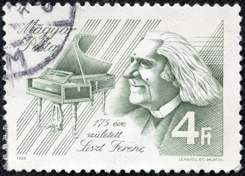 Fotografía  stamp printed by Hungary, shows Franz Liszt, Composer, piano