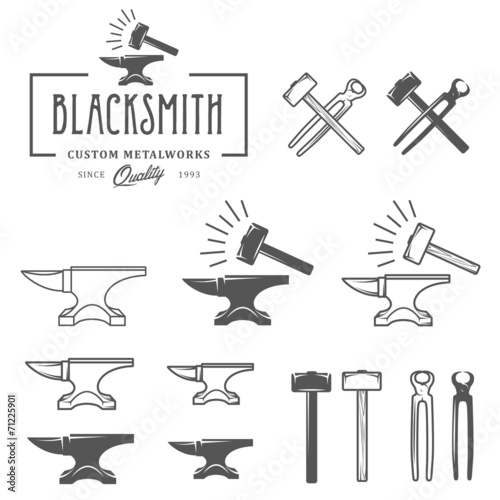 Stampa su Tela Vintage blacksmith labels and design elements