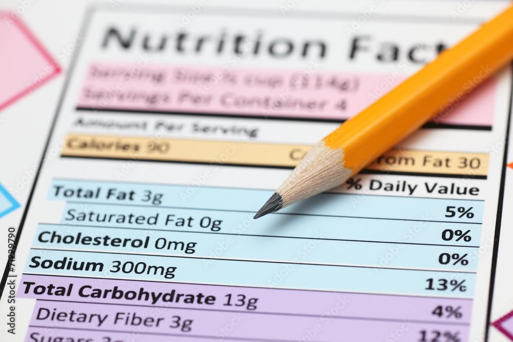 Fototapeta Nutrition facts.