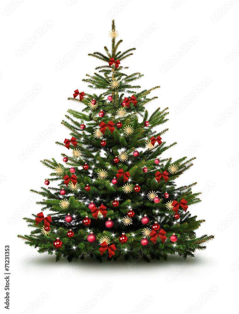 Schleifen Weihnachtsbaum.Christbaum Mit Roten Kugeln Schleifen Und Strohsternen Foto