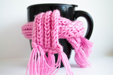 Cup Of Coffee With Scarf