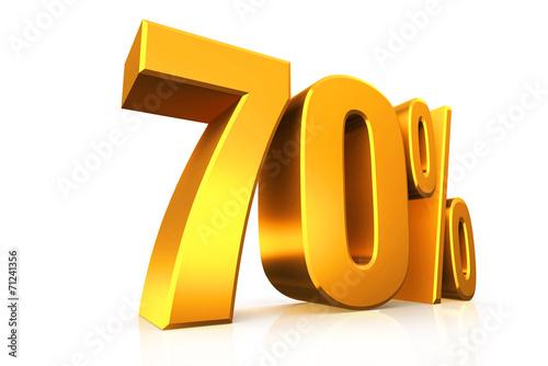 Obraz na plátně  3D render text in 70 percent in gold