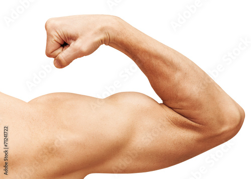 Foto  Strong male arm shows biceps. Close-up photo isolated on white