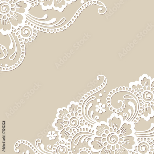 Fotografia, Obraz  Flower vector ornament corner